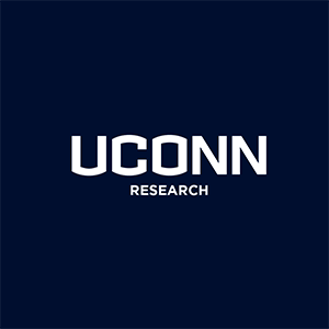 White UConn Research Logo on Navy Blue Background